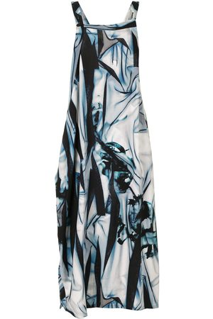 Y'S Printed asymmetric midi dress
