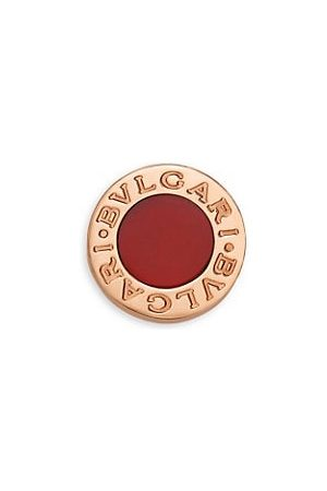 Bvlgari Classic 18K Rose & Carnelian Single Round Stud Earring