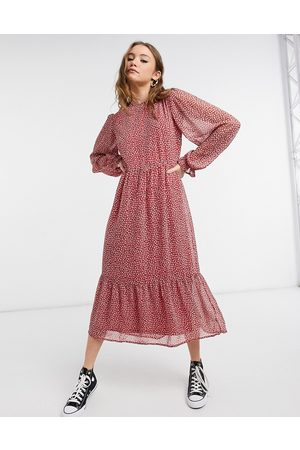 New Look Long sleeve midi dress in red ditsy print