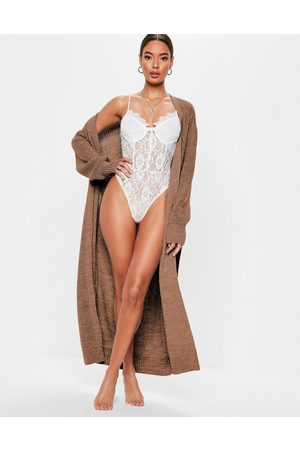 Missguided Belted maxi cardigan in mocha