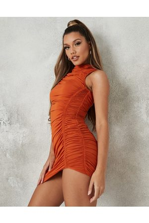 Missguided Women Dresses - Slinky dress with high neck in rust