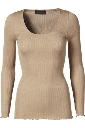 Rosemunde Silk Regular Length Long Sleeve Top With Lurex - Cobblestone Shine