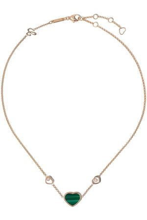 Chopard 18kt rose gold and malachite Happy Hearts necklace