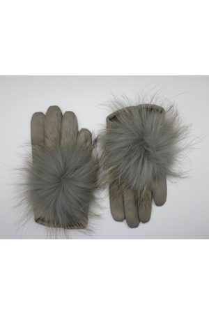 Maison Fabre Women Gloves - Leather gloves with fur PomPom