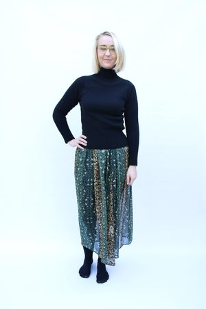 Nellie & Dove Silk Skirt in and Gold