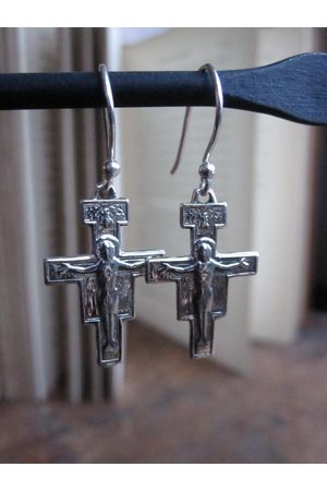 WINDOW DRESSING THE SOUL Women Earrings - WDTS Cross with Jesus earrings.