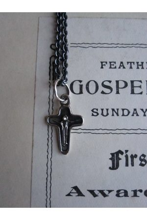 WINDOW DRESSING THE SOUL Necklaces - WDTS Oxidised 'Jesus on the cross' small pendant
