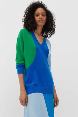 Chinti And Parker Women Tops - Chinti & Parker Flash V Neck Sweater - Royal / Verde