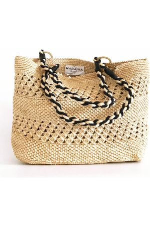 MARAINA LONDON MEVA beach raffia tote bag- or Natural