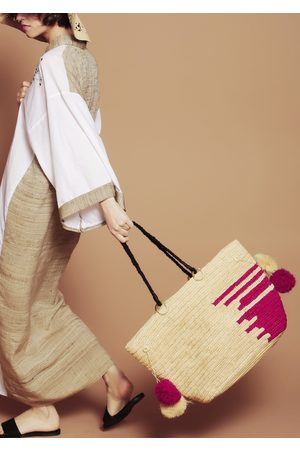 MARAINA LONDON EMMANUEL large raffia beach tote bag