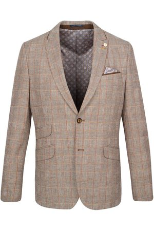 Guide London Taupe With Orange Check Glen Plaid Suit Jacket