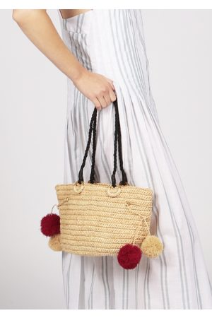 MARAINA LONDON Women Tote Bags - JUNE raffia beach tote bag with pompoms in natural