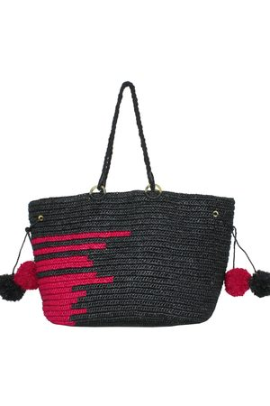 MARAINA LONDON EMMANUEL large raffia beach tote bag in black and fushia