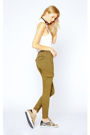 Black Orchid Women Cargo Pants - Camille Skinny Cargo - Army