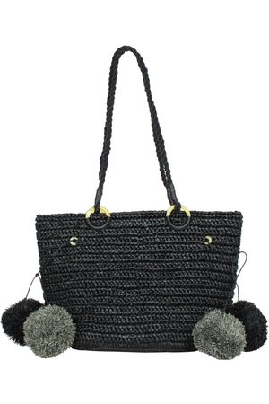 MARAINA LONDON JUNE raffia beach tote bag with pompoms in black