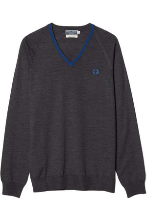 Fred Perry Men Jumpers - Reissues Merino Tipped V-Neck Jumper Charcoal Marl
