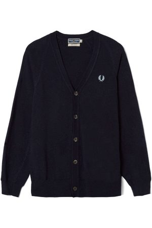 Fred Perry Reissues Lambswool Cardigan Navy Marl