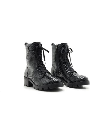 Schutz Snake Lace-Up Ankle Boots