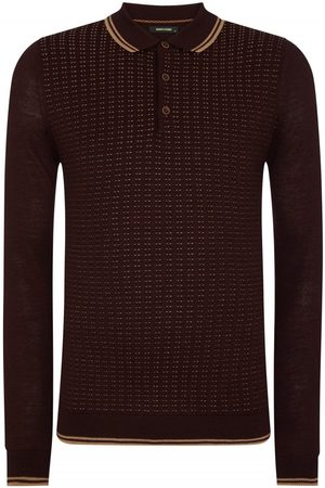 Remus Men Long Sleeve - Uomo Spotted Long Sleeve Knitted Burgundy Colour: Burgundy, Size