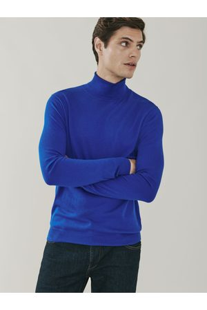 MrQuintessential Men Tops - Piccadilly Silk and Cashmere Roll Neck Sweater - Royal