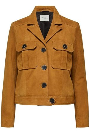 SELECTED Women Leather Jackets - SLFSTORAY SUEDE LEATHER JACKET BRONZE