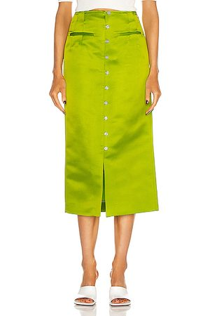 Rosie Assoulin Button Down Pencil Skirt in Lime