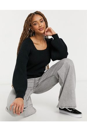 New Look Square neck balloon sleeve jumper in