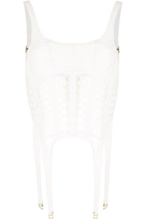 DION LEE Lace-insert corset top