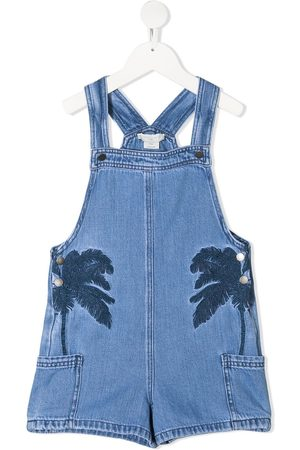 Stella McCartney Girls Dungarees - Palm tree embroidered overalls