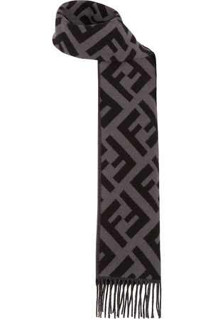 Fendi Men Scarves - FF-intarsia fringed trim scarf