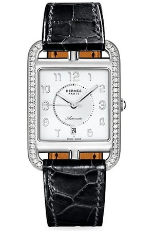 Hermès Cape Cod Stainless Steel, Diamond & Alligator Strap Watch