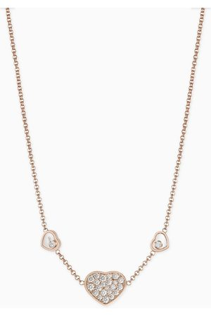 Chopard Women Necklaces - Happy Hearts Diamond Necklace in 18kt Rose
