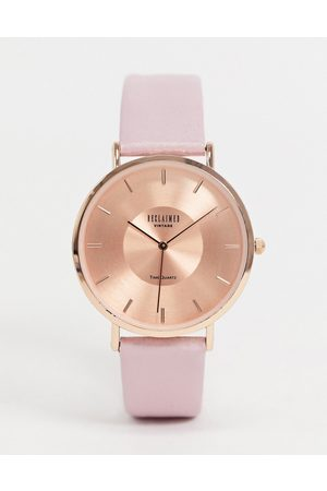 Reclaimed Vintage Inspired leather watch in pink