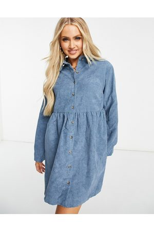 Missguided Cord long sleeve shirt smock dress in slate