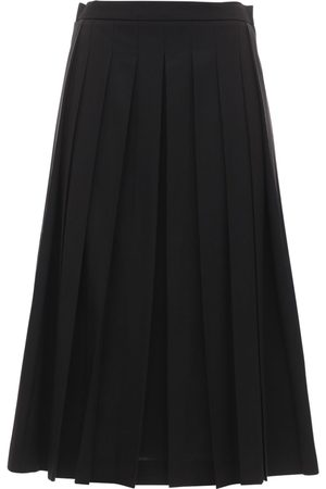 Moncler Pleated Stretch Wool Blend Midi Skirt