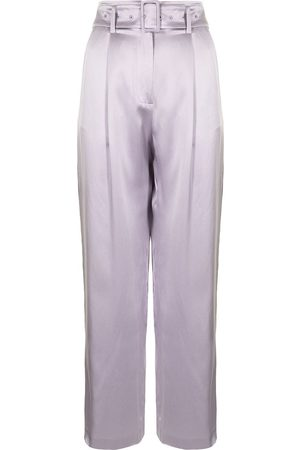 FLEUR DU MAL Women Pants - Belted silk trousers