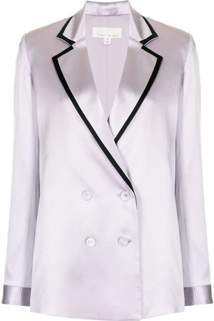 FLEUR DU MAL Satin-finish double-breasted blazer