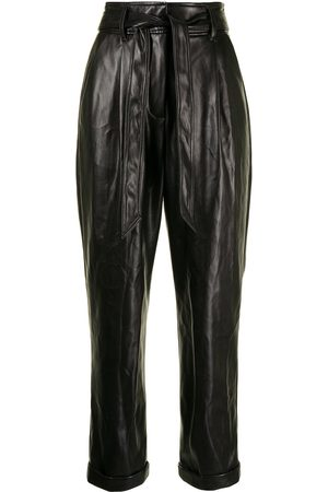 FLEUR DU MAL Women Leather Pants - Faux-leather belted trousers