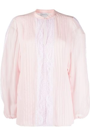 Giambattista Valli Lace-panel pleated blouse