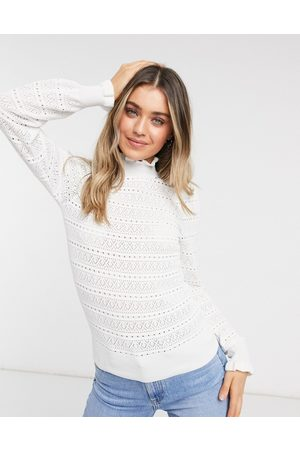 New Look Pointelle frill jumper in
