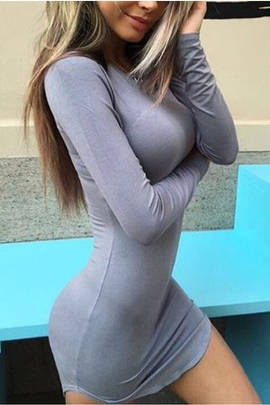 YOINS Pullover Curved Hem Bodycon Fit Dress