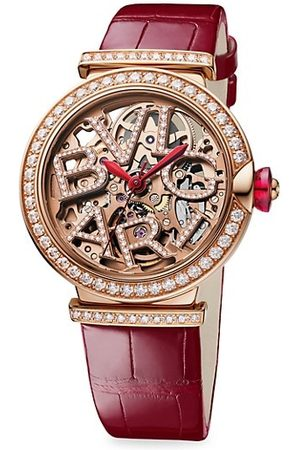 Bvlgari LVCEA 18K Rose , Diamond & Alligator Strap Skeleton Watch