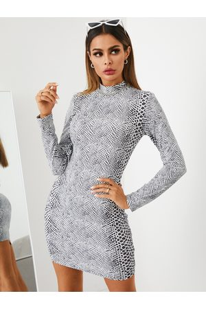 YOINS Snakeskin High Neck Long Sleeves Dress