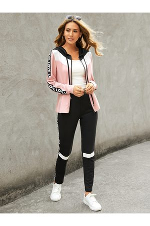YOINS Letter Patchwork Long Sleeves Tracksuit