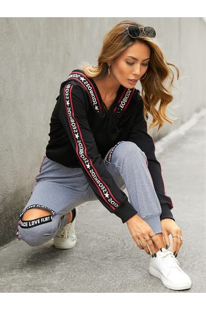 YOINS Letter Ribbon Cut out Long sleeves Tracksuit