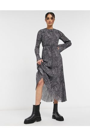 & OTHER STORIES Recycled marble print plisse maxi dress in
