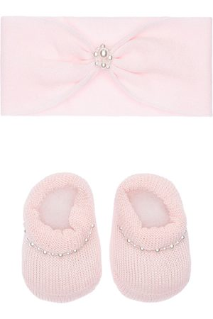 La Perla Knit Headband & Socks W/ Faux Pearls