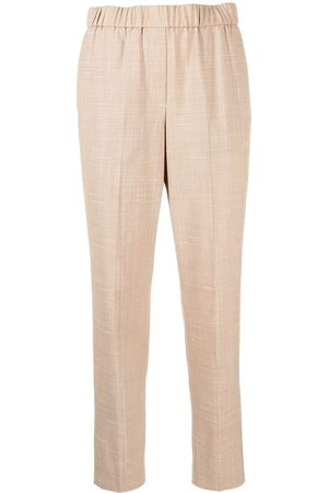 PESERICO SIGN Mid-rise cropped check trousers