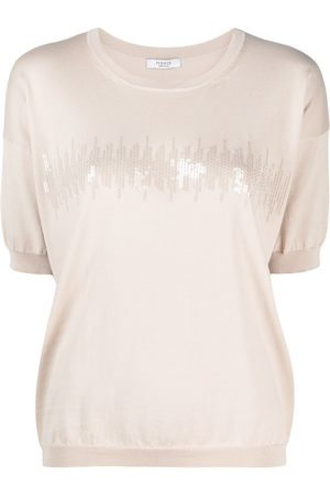 PESERICO SIGN Women Short Sleeve - Sequin-embellished knitted T-shirt