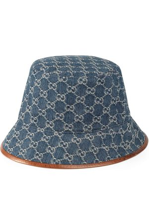 Gucci GG Supreme leather-trimmed bucket hat